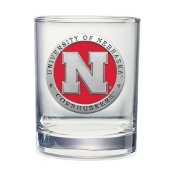University of Nebraska Double Old Fashioned Glass - Enameled