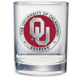 "University of Oklahoma ""OU"" Double Old Fashioned Glass - Enameled"