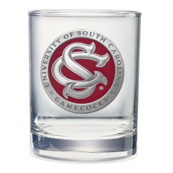 "University of South Carolina ""SC"" Double Old Fashioned Glass - Enameled"