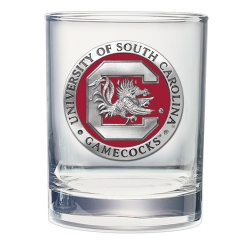 "University of South Carolina ""Gamecocks"" Double Old Fashioned Glass - Enameled"