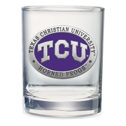 Texas Christian University Double Old Fashioned Glass - Enameled