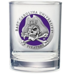 East Carolina University Double Old Fashioned Glass - Enameled