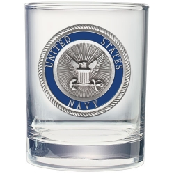 Navy Double Old Fashioned Glass - Enameled