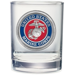 "Marine Corps ""USMC"" Double Old Fashioned Glass - Enameled"