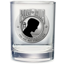 POW MIA Double Old Fashioned Glass - Enameled
