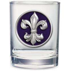 Fleur de Lis #3 Double Old Fashioned Glass - Enameled