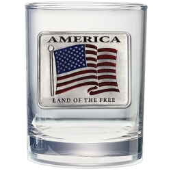 US Flag Double Old Fashioned Glass - Enameled