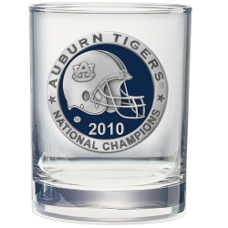 "2010 BCS National Champions Auburn University ""Tigers"" Double Old Fashioned Glass - Enameled - Helmet"