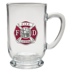 Firefighter Clear Coffee Cup - Enameled