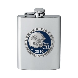 "2010 BCS National Champions Auburn University ""Tigers"" Flask - Enameled - Helmet"