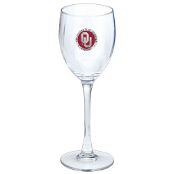 "University of Oklahoma ""OU"" Wine Glass - Enameled"