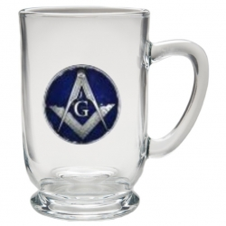 Masonic Square & Compass Clear Coffee Cup - Enameled