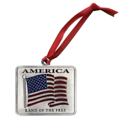 US Flag Ornament - Enameled