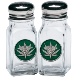 Marijuana #2 Salt and Pepper Shaker Set - Enameled