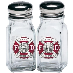 Firefighter Salt and Pepper Shaker Set - Enameled