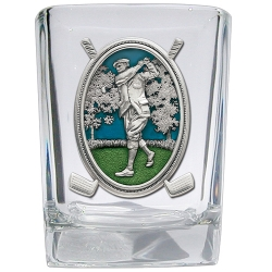 "Golf ""Driver"" Square Shot Glass - Enameled"