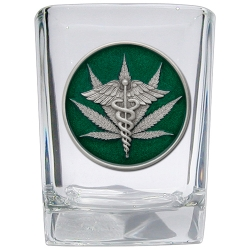 Marijuana #2 Square Shot Glass - Enameled