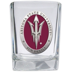 "ASU ""Pitchfork"" Square Shot Glass - Enameled"