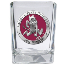 "ASU ""Sparky"" Square Shot Glass - Enameled"