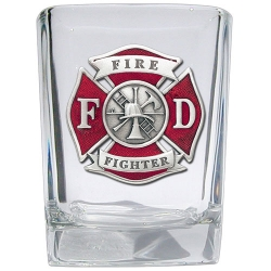 Firefighter Square Shot Glass - Enameled