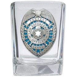 Law Enforcement Square Shot Glass - Enameled