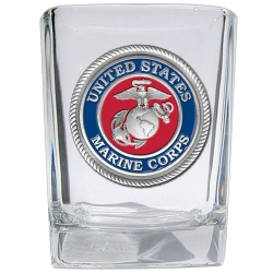 "Marine Corps ""USMC"" Square Shot Glass - Enameled"