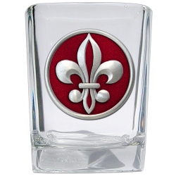 Fleur de Lis #2 Square Shot Glass - Enameled
