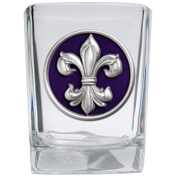 Fleur de Lis #3 Square Shot Glass - Enameled