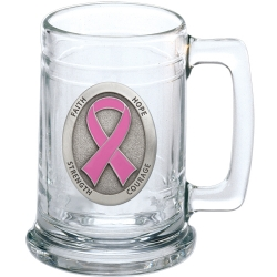 Pink Ribbon Stein - Enameled