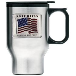 US Flag Thermal Travel Mug - Enameled