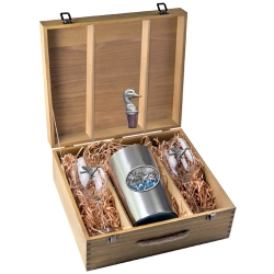 Pintail Duck Wine Set w/ Box - Enameled