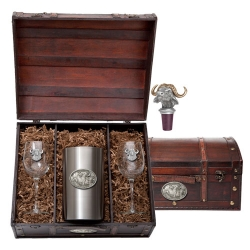 Cape Buffalo Wine Set w/ Chest