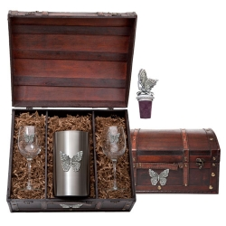 Butterfly Wine Set w/ Chest