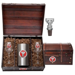 Texas Tech University Wine Set w/ Chest - Enameled