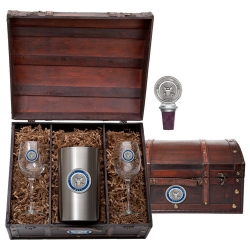 Navy Wine Set w/ Chest - Enameled