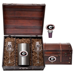 "University of Georgia ""G"" Wine Set w/ Chest - Enameled"